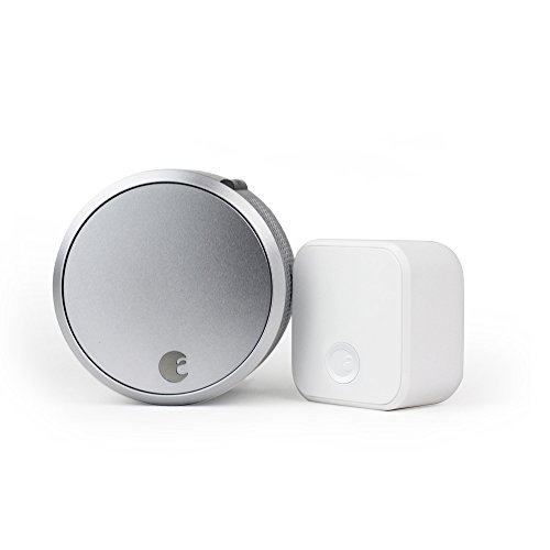 August Smart Lock Pro + Connect with Wi-Fi Bridge, Silver. Zwave, HomeKit & Alexa Compatible