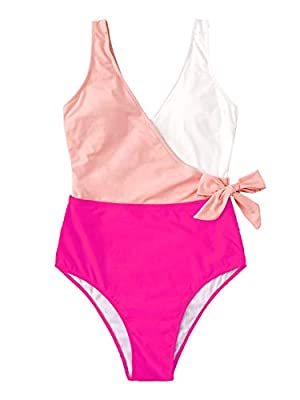 Feature: Surplice neck, tie waist, colorblock one piece swimsuit. Material: Fabric is very stretchy. Soft and comfortable. Before Order: Please select your size based on the measurements as below. Occasion: Perfect for vacations, summer, beach & pool...
