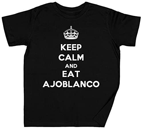 Keep Calm and Eat Ajoblanco Negro Niños Chicos Chicas Camis