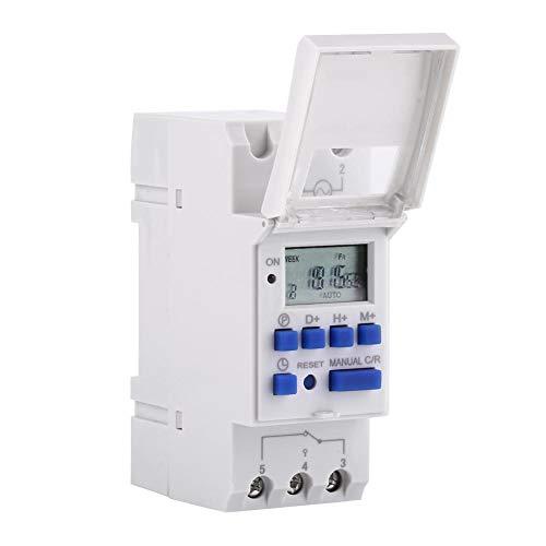 Akozon Minuterie programmable numérique affichage LCD Interrupteur horaire programmable hebdomadaire relais temporisé 16on & 16off minuterie(220V)