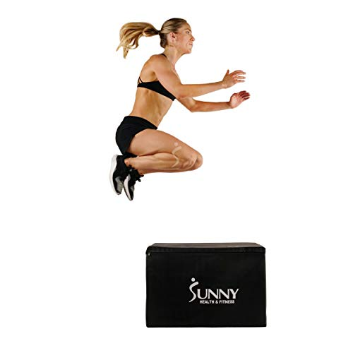 Sunny Health & Fitness Foam Plyo Box, 440lb Weight Capacity with Weighted Foam for Stability and 3 in 1 Height Adjustment - 30'/24'/20' for Plyometric Training