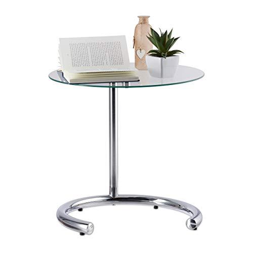 Relaxdays Tavolino caff Altezza Regolabile Fino a 70 cm, Tavolo Piccolo per Salotto, Acciaio...
