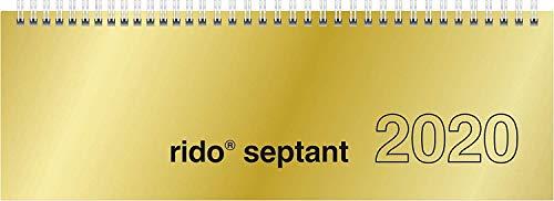 rido/idé 703612191 Tischkalender/Querterminbuch septant (2 Seiten = 1 Woche, 305 x 105 mm, Glanzkarton-Einband, Kalendarium 2020, Wire-O-Bindung) gold