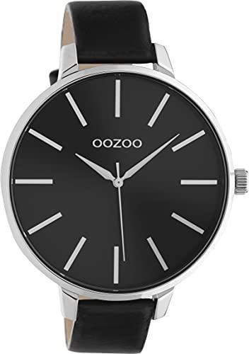 Oozoo Damenuhr mit Lederband 48 MM Silberfarben/Schwarz C10714