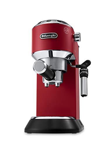 De'Longhi Dedica EC685.R Macchina da Caff Espresso Manuale e Cappuccino, Caff in Polvere o in Cialde E.S.E., Pompa a 15 bar, 1350 W, Rosso