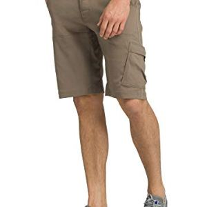prAna – Men's Stretch Zion Lightweight, Water-Repellent Shorts for Hiking and Everyday Wear, 12″ Inseam, Mud, 34