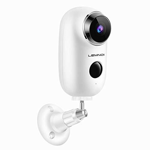 Lemnoi Telecamera di Videosorveglianza Batteria Wifi senza Fili 1080P, Telecamera batteria Wireless Interno e Esterno impermeabile IP65, Visione Notturna Audio Bidirezionale sensore di movimento