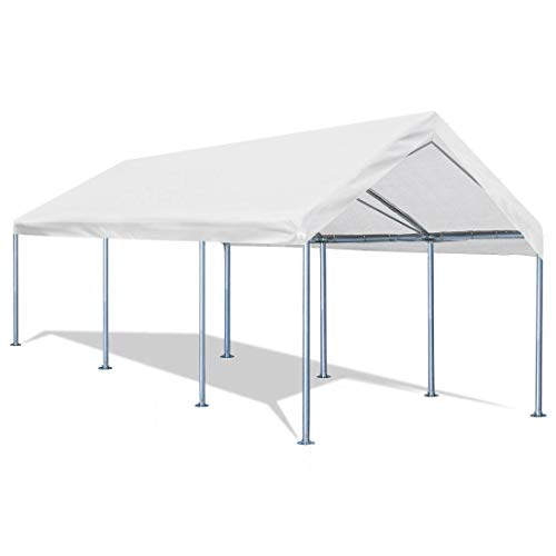 Quictent 10x20 Carport Upgraded Heavy Duty Car Canopy Galvanized Car Boat Shelter with 4 Reinforced Steel Cables White