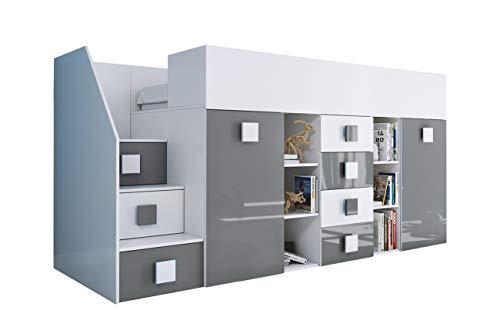 KRYSPOL Etagenbett für Kinder TOLEDO 3 Stockbett mit Treppe, Schreibtisch, Bettkasten (Weiß/Weiß Glanz + Grau Glanz, Seite: links)