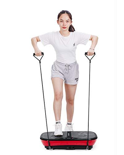 MaxKare Plateforme Vibrante Oscillante pour Fitness, 99 VITESSES | 10 Modes Auto | Silencieux | Antidérapant, 2 Bandes Elastiques/3 Zones de Vibration/, Contrôlé par Ecran/Télécommande