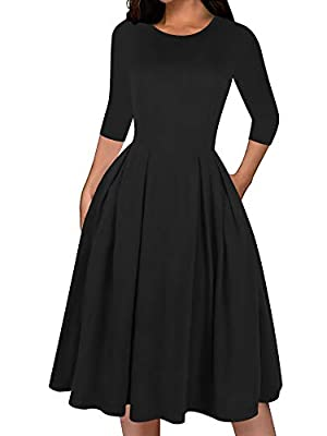 Material:65% Cotton + 35% Polyester. The material is very soft,confortable and stretchy. Perfect for casual,wear to work,special occasions,party,cocktail and wedding.The casual swing midi dress is elegant it self. It's simple chic.The classy swing dr...