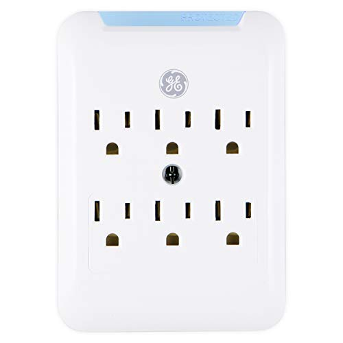 GE Pro Surge Protector Wall Tap, 6 Outlets, 3 Prong, Protected Indicator Light, Mounting Screw, 15A, 540 Joules, UL Listed, White, 38431