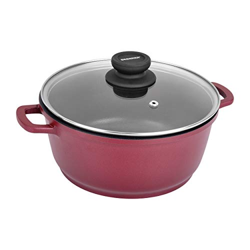 Bergner Scarlett Die Cast Aluminium Dutch Oven with Glass Lid, 16 cm, 1.35 litres. Induction Base