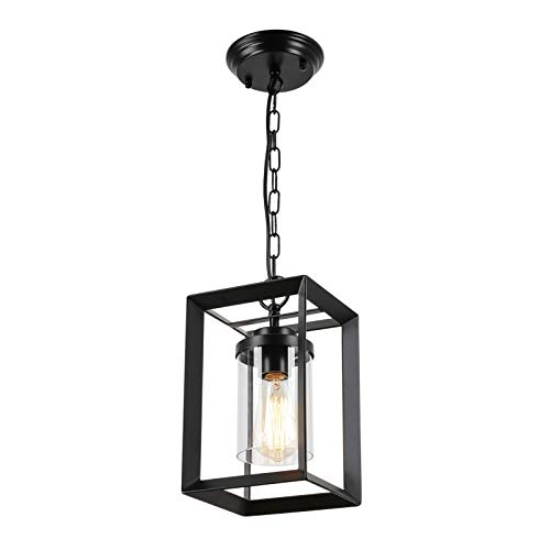 HMVPL Farmhouse Pendant Lighting Fixtures, Black Mini Hanging Chandelier Swag Lamp with Glass Shade, Industrial...
