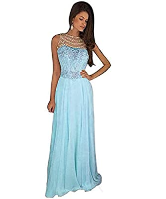 Tulle and chiffon long floor length skirt with see through back, Shiny beaded sequins crystals, Sleeveless All dresses are made to order even if standard size. Please find a soft tape to measure yourself and keep tape loose, otherwise it will be too ...