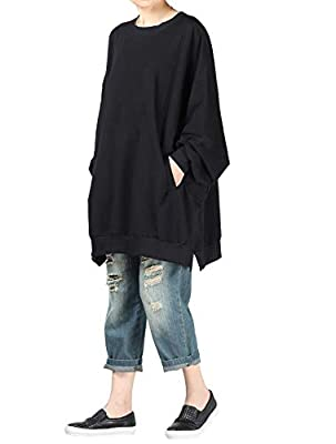 Womens casual long sleeve shirts round neck pocket blouses loose oversized sweatshirts tops This casual long tunic tops is very loose style,comfortable to wear,breathable feel for spring and autumn Lightweight pullover can pair with shorts,leggings, ...