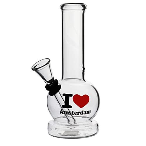 Pipa de agua de cristal, 16 cm, con diseño (I Love Amsterdam)