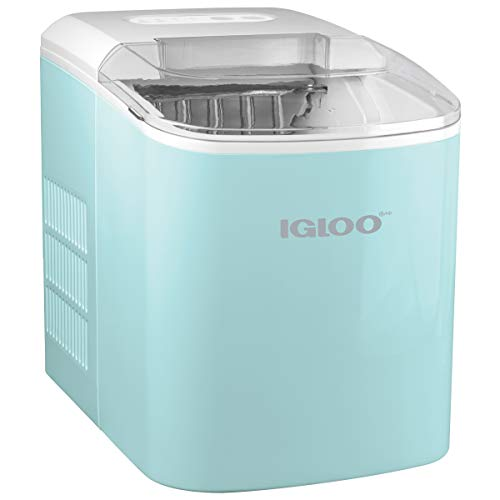 Igloo ICEB26AQ Automatic Portable Electric Countertop Ice Maker Machine, 26 Pounds in 24 Hours, 9 Ice Cubes Ready in 7 Minutes, With Ice Scoop and Basket, Perfect for Water Bottles, Mixed Drinks