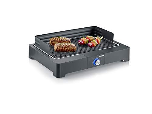 SEVERIN Barbecue de Table 2 200 W, Bac à Eau, Gril en fonte d'aluminium, Revêtement 'SafeTouch', Thermostat Rotatif, Noir, PG 8562