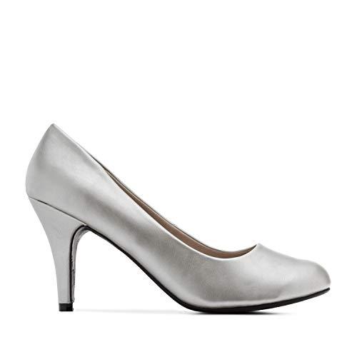 Andrés Machado - Zapatos de tacón para Mujer - Tacon de Aguja - ESAM422 - Hora Estilo Retro - Tallas pequeñas, Medianas y Grandes - sin Cordones - Zapato de tacón Soft Plata. EU 44