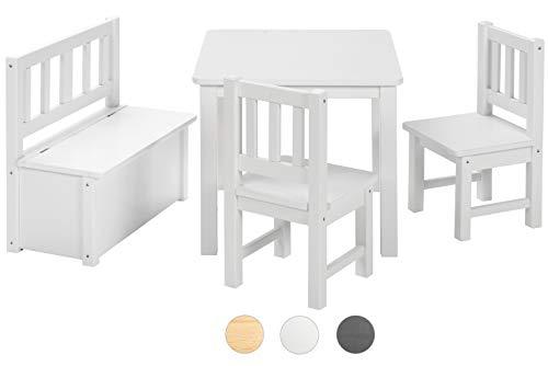 BOMI Kindertisch mit 2 Stühle mit integrierter Spielzeugkiste   Kindertruhenbank aus Kiefer Massiv Holz für Kleinkinder, Mädchen und Jungen Weiß