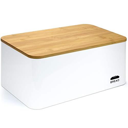 Granrosi Brotkasten mit Bambus Schneidebrett - Geräumige Metall Brotbox mit Holzdeckel hält Brot und Brötchen länger frisch und ist EIN optisches Highlight in jeder Küche