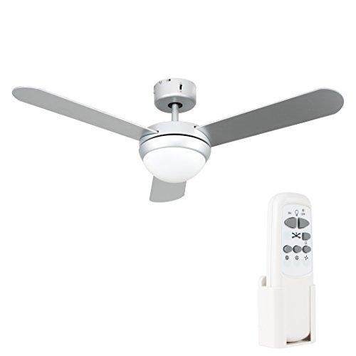 MiniSun – Moderner 106 cm Deckenventilator aus silbergrauem Metall mit 3 Flügeln und Leuchte inklusive Fernbedienung – Deckenventilator mit Leuchte und Fernbedienung