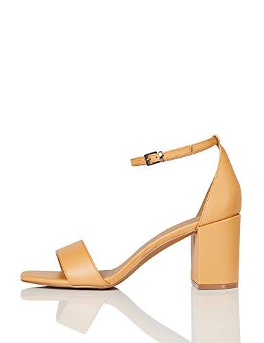 Marca Amazon - find. #_ Gafur-1A Zapatos con Tacon y Correa de Tobillo, Marrón (Tan), 40