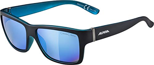 Alpina Sonnenbrille Sport Style KACEY Fahrradbrille, Black matt-Blue, One Size