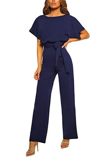 Happy Sailed Damen Langarm O-Ausschnitt Elegant Lang Jumpsuit Overall Hosenanzug Playsuit Romper,Blau,M