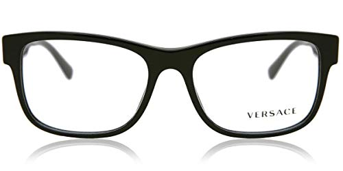 31efBWNNywL Brand: Versace Model: VE3266 Style: Full Rim Rectangle Frame Color: Black/Gold - GB1 Size: Lens-55 Bridge-17 B-Vertical Height-41.5 ED-Effective Diameter-61.0 Temple-145mm Gender: Men's Frame Material: Plastic Bridge Design: Standard