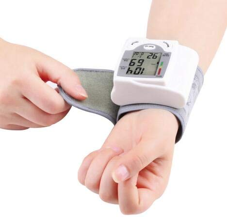 hongxinq Automatic Digital LCD Display Wrist Blood Pressure Monitor Heart Beat Rate Pulse Meter Tonometer Sphygmomanometers Pulsometer