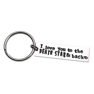 LParkin I Love You to The Death Star & Back Stainless Steel Bar Keychain Keyring Great Christmas Geekery Fan Sci Fi Geeky Gifts