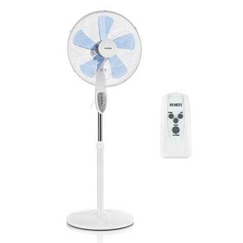 KLARSTEIN Summerjam - Ventilateur sur Pied : Rotor: Ø 41 cm, 50 W, 3 Vitesses, débit d'air: 4150 m³/h, Oscillation: 80°, minuterie, télécommande, réglable en Hauteur - Blanc