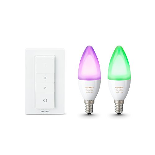 Philips Hue Pack de 2 Ampoules Connectées White & Color flamme E14 + Télecommande Hue Dim Switch