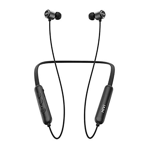 Mivi Collar Flash Bluetooth Earphones. Fast Charging Wireless Earphones with mic, 24hrs Battery Life, HD Sound, Powerful Bass, Made in India Neckband -Black