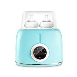 Baby Bottle Warmer, Milk Warmer Steam Sterilizer, 7-in-1 Baby Food Heater Defrost Smart Thermostat Double Bottles Warmer with LCD Display, Fit All Baby Bottles