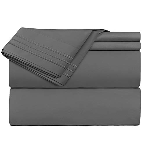 Clara Clark Premier 1800 Series 4 Piece Sheet Set Deep Pocket Brushed Microfiber, Wrinkle, Fade & Stain Resistant, Queen Size, Charcoal Gray
