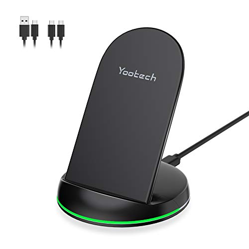 Yootech Wireless Charger Qi-Certified 10W Max Wireless Charging Stand, Compatible with iPhone SE 2020/11/11 Pro/11 Pro Max/XS MAX/XR/XS/X/8, Galaxy S20/Note 10 Plus/S10/S10 Plus(With 2 USB C Cable)