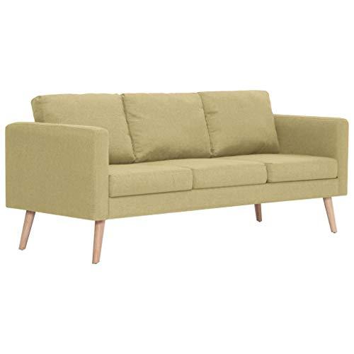 vidaXL Divano a 3 Posti Elegante Comodo Sofa Triplo per Casa per Ufficio Poltrona da Tre Persone Arredo per Salotto Arredamento in Tessuto Verde