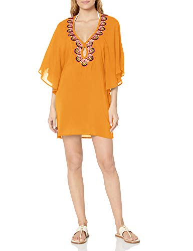 31fPWXAl5tL DESIGNER SUMMER SWIMWEAR — A cover up tuned tuniquely for you! This Trina Turk tunic features a plunging embroidered keyhole v-neck design at the front, while a loose billowy fit leaves you feeling confident SWIMWEAR COVER-UP — This trendy item can be worn over your suit at the pool party or at the beach for discreet coverage and comfort. Wear it as you come up for air, or on the way to take a dip. This item can also be sported as a chic summer garment with or without your swimwear BOLD SWIRLING PRINT — Show off your summer tan in this trendy swim item that features a colorful abstract swirl print against a solid color background