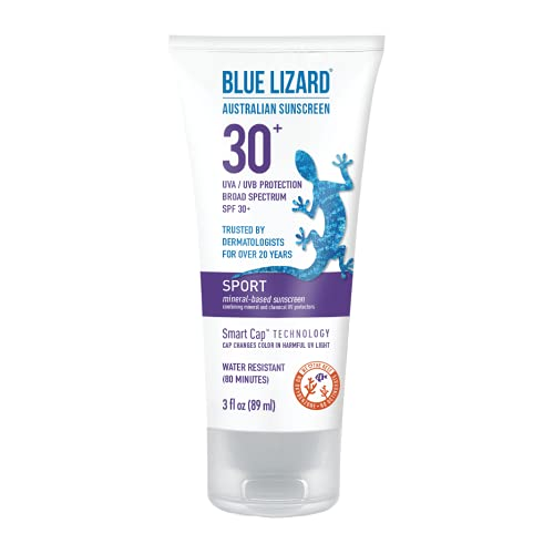 BLUE LIZARD Sport Mineral Sunscreen with Zinc Oxide SPF 30+ WaterSweat Resistant UVAUVB Protection with Smart Cap Technology Fragrance Free oz. Tube, Cream, Unscented, 3 Fl Oz