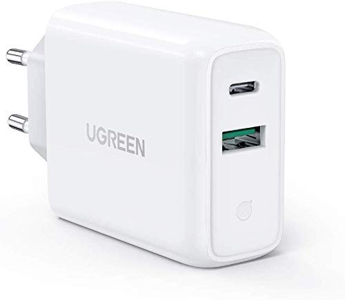 UGREEN 36W Caricatore Rapido Due Porte USB C Power Delivery 3.0 + USB A Quick Charge 3.0 18W Compatible with iPad PRO 2018 MacBook PRO iPhone 11 PRO Max XS XR 8, Redmi Note 8 PRO, Samsung S10 S9