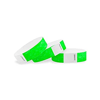 500 NEON GREEN 3/4 INCH TYVEK WRISTBANDS FROM WRISTCO - The heavy duty 7.5 mil Tyvek wristbands with the strongest adhesive of any wristband are packaged in sheets of ten. Each wristband measures 3/4 inches wide by 10 inches long and will fit most wr...