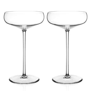 DIAMANTE Champagne Cocktail Saucers Pair - 'Elegance' Collection Undecorated Crystal - Set of 2
