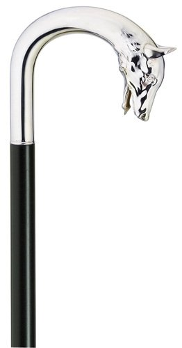 Men Dog Head Cane Black Maple Shaft, Alpacca Handle  -Affordable Gift! Item #DHAR-9011700