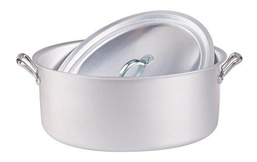 Pentole Agnelli FAMA2628 Casseruola Ovale con Maniglie e Coperchio, Alluminio, 28 cm
