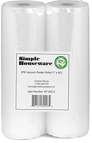 2 Pack - Simple Houseware 11' x 50' Vacuum Sealer Rolls Food Storage Saver Commercial Grade Bag (total 100 feet)