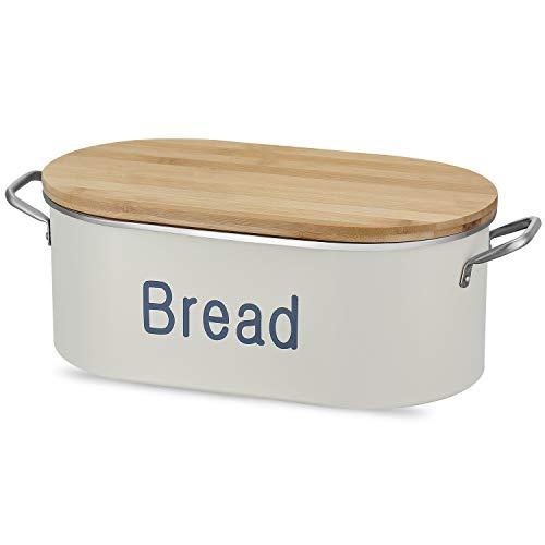 PAOPASE Großer Brotkasten für Küche Metall Brotkasten Brotkasten Brotkasten mit Bambus Deckel