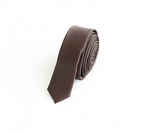 Fabio Farini - Elegante cravatta colori semplici da uomo in 3cm di larghezza in diversi colori per ogni occasione come matrimonio, cresima, ballo di fine anno Marrone